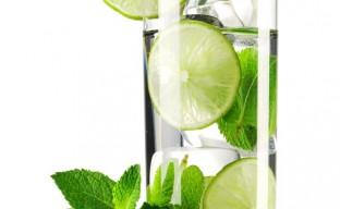 تصویری از یک لیوان نوشیدنی لیموی طبیعی آماده سرو
