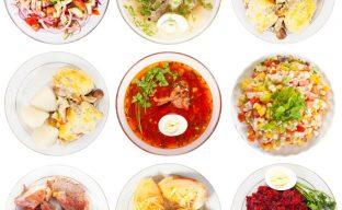 تصویری از نه خوراک و سوپ و سالاد گوشت و سبزیجات